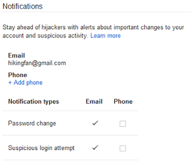 Google Security Notifications