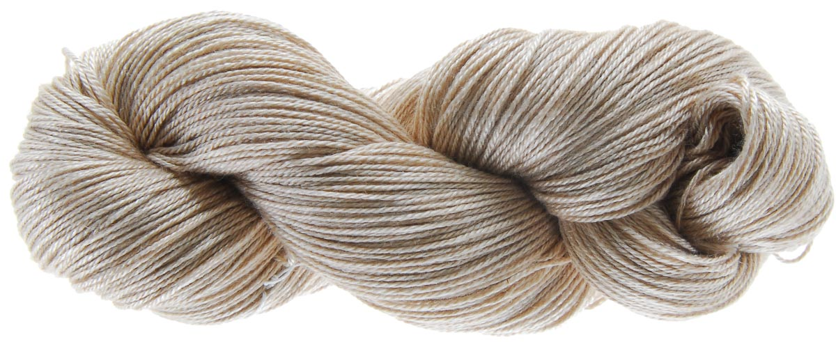A single hank of Handmaiden Camelspin in Ecru, twisted for sale. Photo © Handmaiden Fine Yarns.